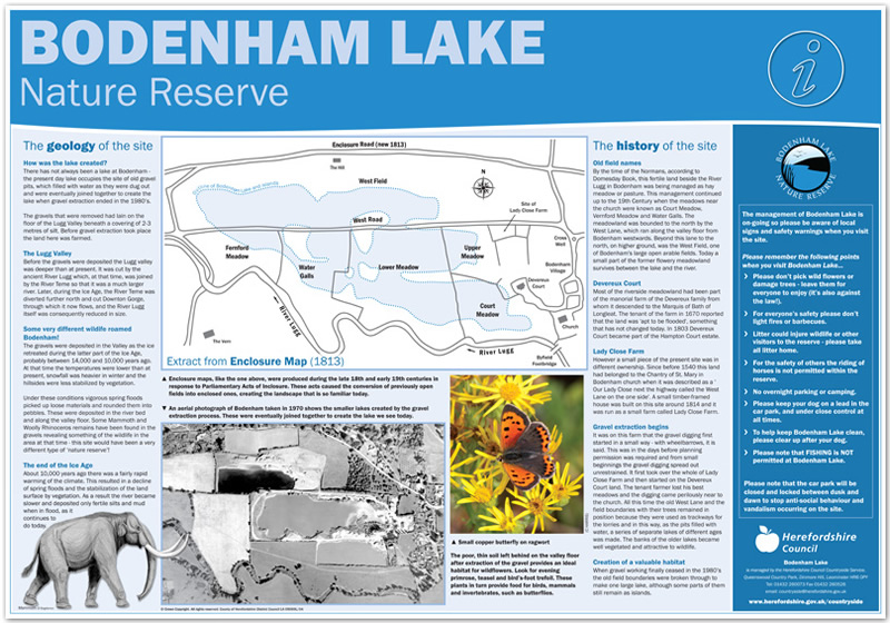 Bodenham Lake information panel