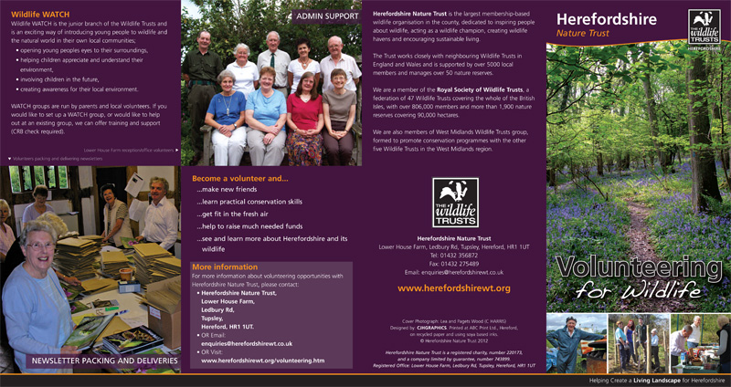 'Volunteering for Wildlife' leaflet (outside)