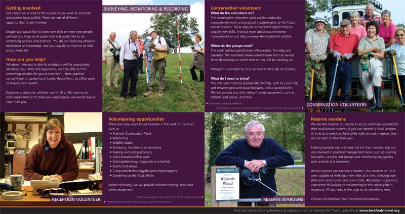 'Volunteering for Wildlife' leaflet (inside)